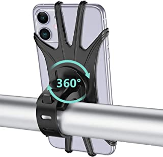 ORIbox Bike Phone Mount, Detachable 360° Rotation Motorcycle Phone Mount with Adjustable Universal Silicone Handlebar Cradle Compatible with iPhone Galaxy Smartphone Accessories Black