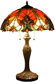 Tiffany Table Lamps Red Liaison Stained Glass Style Shade Zinc Base 2 Light 24 Inch Tall for Living Room Bedroom Coffee Table Reading Desk Beside Reading Set S160R WERFACTORY (S160R)
