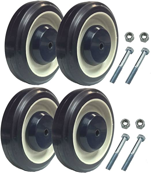 Mapp Caster Blue Shopping Cart Replacement Wheels With Axles Set Of 4