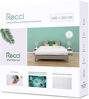 RECCI Protège Matelas 140x190/200 cm - 100% Fibre de Bambou, Ultra Doux, Hautement Respirant, Hypoallergénique, Silencieux...
