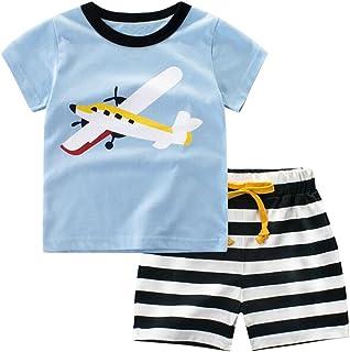 Csbks Kids Boys Summer Outfits Short Sleeve T-Shirt & Shorts Sets 1-6 Toddler