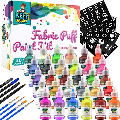 KEFF Puff Paint Kit - 30 Color Pack - Fabric Paint Set with Stencils, Brushes, Fabric Markers - Metallic, Glitter, Fluorescent, Glow in the Dark - Kids Art Coloring Supplies for Clothing, Canvas, Wood