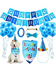 Set de Sombrero Bandana de Cumpleaños de Perro Gorro Pañuelo de Cumpleaños de Perro Collar de Pajarita Brillante Banner Happy Birthday y 10 Globos Impresos de Patas de 12 Pulgadas con Cinta (Azul)