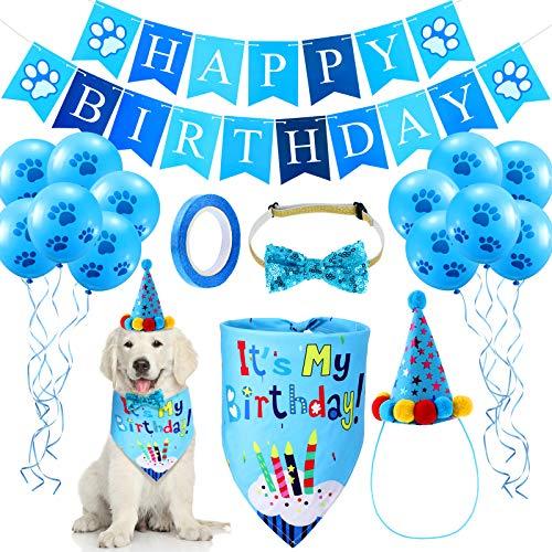 Dog Birthday Bandana Hat Set Dog Birthday Hat Dog Birthday Bandana Scarf Shining Dog Bow Tie Collar Dog Happy Birthday Banner and 10 Piece 12 Inch Paw Print Balloon with Tape for Dog Pet (Blue)
