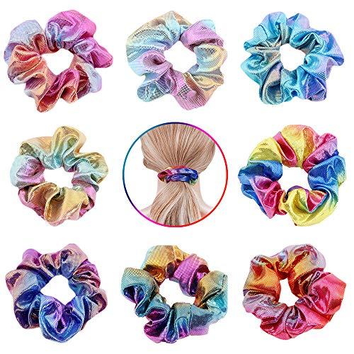 Hair Scrunchies Dazzling Rainbow, HANMEI Shiny Metallic Large Hair Scrunchie Mermaid Hair Bow Elastics Ponytail Holder Hair Ties for Women or Girls (Rainbow 8-Pack)