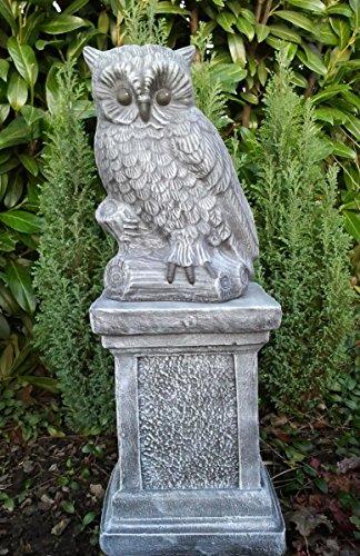 Tiefes Kunsthandwerk Steinfigur Eule mit Säule - Schiefergrau Deko Figur Garten Frostsicher
