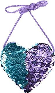 Crossbody Bag Sequin Heart-shaped Cute Messenger Purse for Kids (Blue Purple)