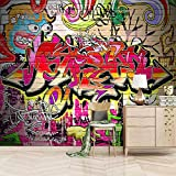 Modern Large Creative Wall Mural Colored Hip-Hop Graffiti Non-Woven Wallpaper Fleece Wall Decor Photo Print Picture Image Design Home for Teens Boys Girls Bedroom Living Room Murals 150X100cm