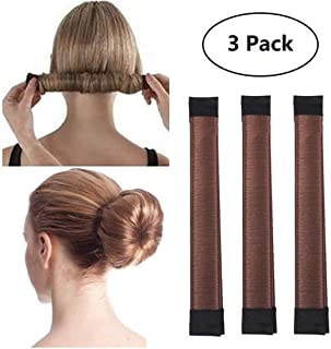 3 Pack Magic Hair Styling Disk Donut Bun Maker Former Foam French Twist Hairstyle Clip Fashion DIY Doughnuts Hair Bun Making Curler Roller Tool, Hair Band Accessory Red Brown