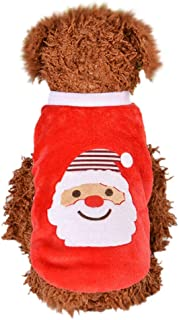 Outeck Santa Claus Print Sweater for Dogs Cats Christmas Flannel Dog Pullover Warm Pets Clothes Winter Pullover Dog Clothes for Small Dogs Puppy Kitten