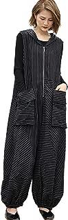 Women's Loose Baggy Hooded Wide Leg Stripes Sleeveless Romper Jumpsuits