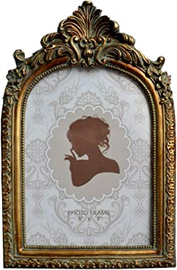 SIKOO Vintage Picture Frame Antique Table Top Wall Mounting Photo Frame for Home Decor, Bronze Gold (5x7)