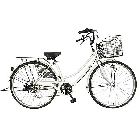 自転車 26インチ サントラスト ママチャリ 6段変速ギア オートライト ギア付き かぎ付き LECIEL ルシール ホワイトゴールド