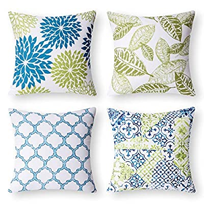 Phantoscope Set of 4 New Living Series Decorative Throw Pillow Case Cushion Cover, Blue and Green, 22 x 22 inches, 55 x 55 cm