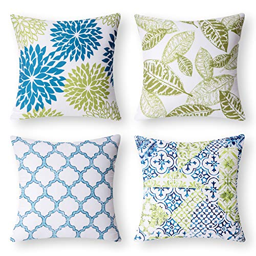 Phantoscope New Living Blue&Green Decorative Throw Pillow Case Cushion Cover 18' x 18' 45 x 45 cm Set of 4