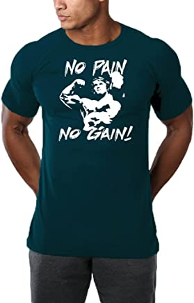 InleaderAesthetics Men's Gym NO Pain NO Gain Workout Bodybuilding Causal Muscle Cotton T-Shirt Tee Sportwear