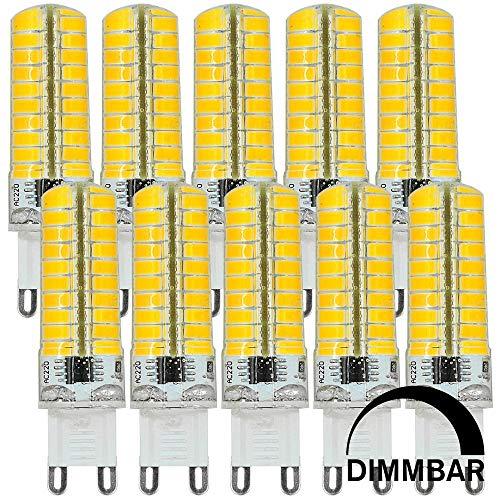 MENGS 10 Stück Dimmbar G9 LED Lampe 7W AC 220-240V Warmweiß 3000K 80x5730 SMD Mit Silikon Material