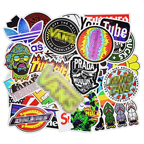 Stickers 100 Pcs/Pack for Skateboard Laptop Computer Helmet Luggage Scooter Water Bottles Car Fashion Cool Stickers Decals Waterproof Vinyl Graffiti Stickers Bomb for Adults Teens Guitar Phone