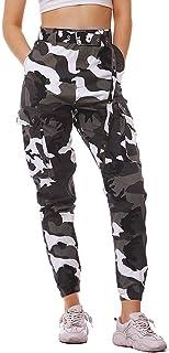 NEWISTAR Damen Hosen Camouflage Gürtel Multi Taschen Laufhose Bunt Combat Hose Reißverschluss Military Freizeithose Trainingshose Relaxed-Fit