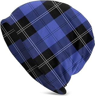Winter Beanie Knit Hats for Men & Women - Warm, Stretchy, Comfort & Soft Daily Toboggan Cap - Ramsay Hunting Tartan in Blue