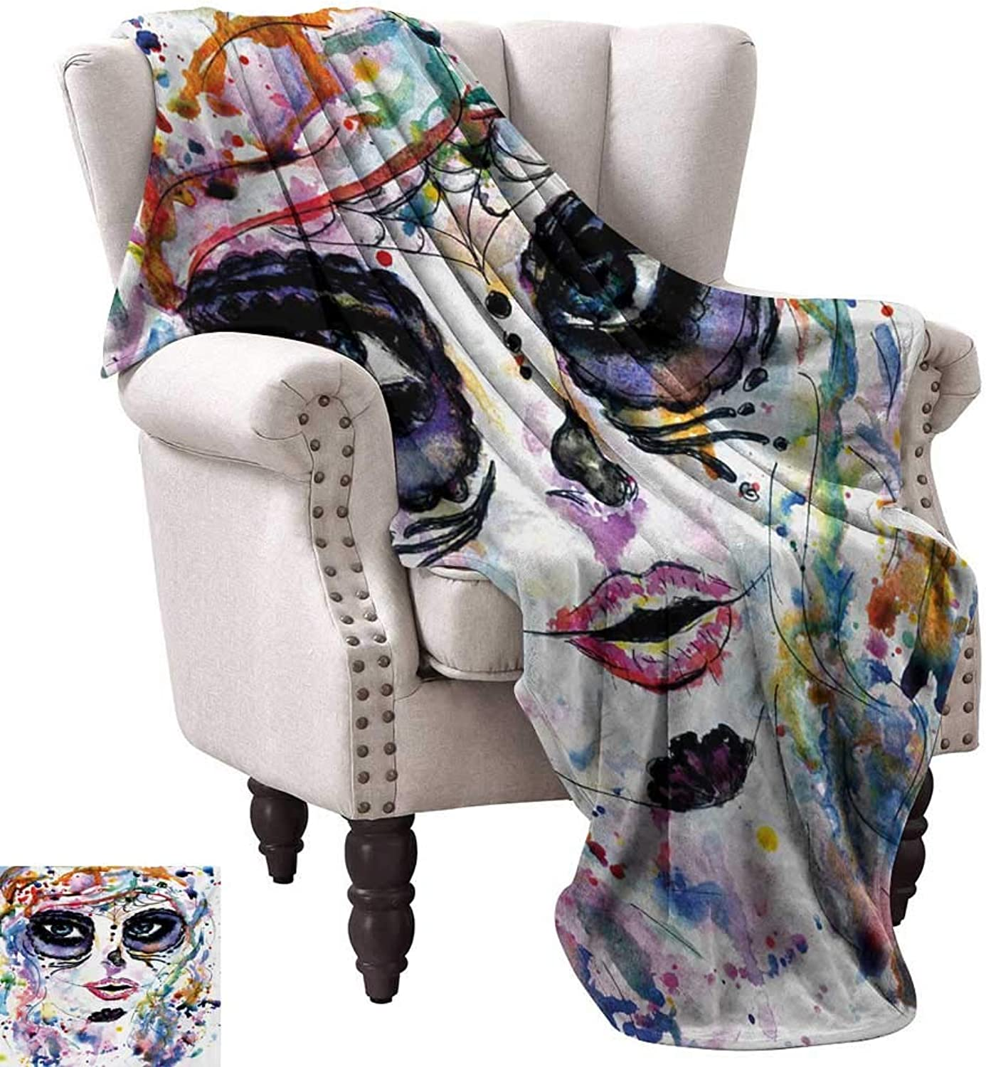 Anyangeight Weave Pattern Extra Long Blanket,Halloween Girl with Sugar Skull Makeup Watercolor Painting Style Creepy Look 60 x50 ,Super Soft and Comfortable,Suitable for Sofas,Chairs,beds