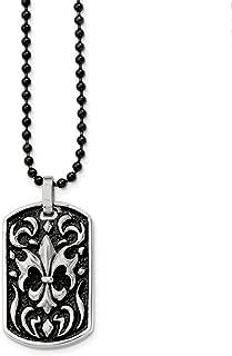 Stainless Steel Antiqued Fleur de lis Dog Tag Necklace - 24 Inch