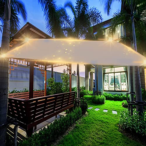 BFCDF Poste de Vela de Sombra, Toldo Impermeable para Sombrilla de Coche Hecho de Poliéster, Luces LED, 95% de Bloqueo UV, para Patio Al Aire Libre, Jardín, Patio,2.5x3m