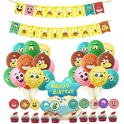 Cumpleaños Decoracion Globos Spongebob Globos Bob Esponja Cumpleaños Decoracion Fiesta Spongebob Pancarta Cake Topper Decoración Fiesta de Cumpleaños de Spongebob