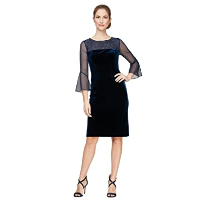 Alex Evenings Short Sheath Dress with Embellished Illusion Neckline and Bell Sleeves
