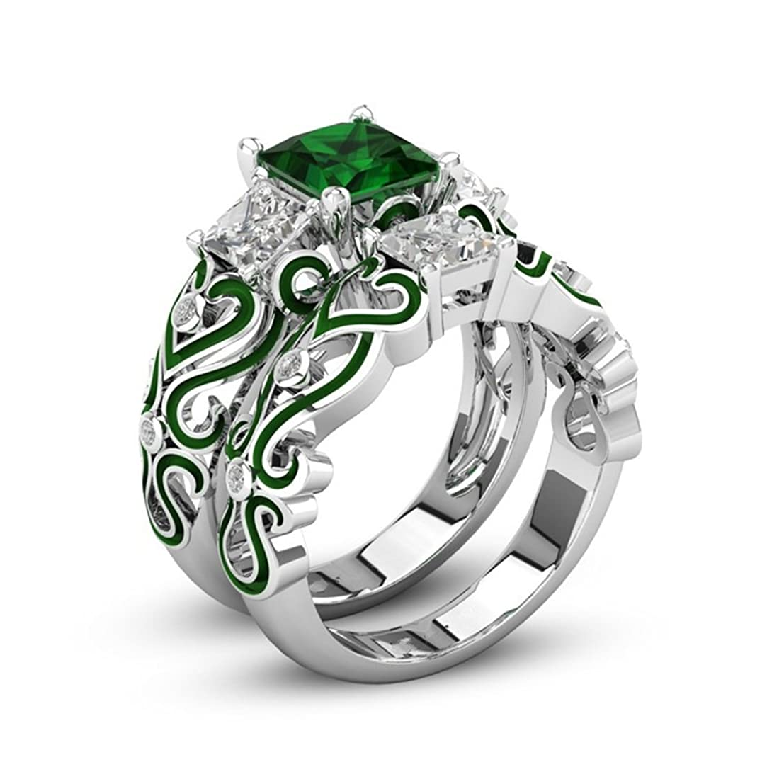 染色変える許可女性のためのファッション925シルバーメッキ結婚指輪婚約指輪フレンドマザーパーティー着用記念日 (緑, 18)