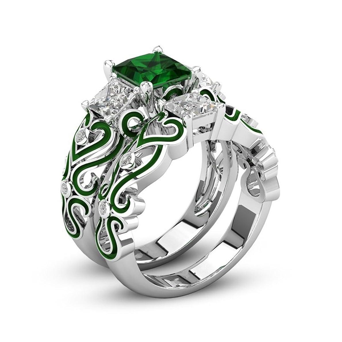 請願者分散ラベンダー女性のためのファッション925シルバーメッキ結婚指輪婚約指輪フレンドマザーパーティー着用記念日 (緑, 18)