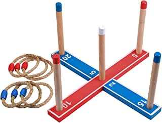 Ring Toss Lawn Games for Kids and Adults Family Outdoor Yard Game Set Includes 6 Rope Rings