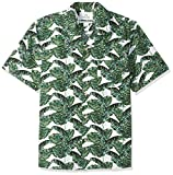 Amazon Brand - 28 Palms Men's Relaxed-Fit 100% Cotton Tropical Hawaiian Shirt, Green/White Banana Leaf, Medium