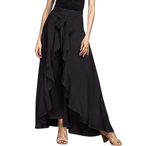 Independent Giking Women Ruffle Pants Full Length Split High Waist Retro Maxi Long Skirt Xl Clothing, Shoes & Accessories