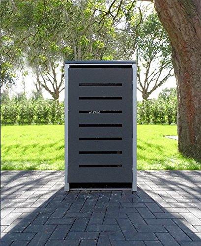 Srm-Design 1 Mülltonnenbox Modell No.6 Anthrazitgrau für 240 Liter Mülltonnen/witterungsbeständig durch Pulverbeschichtung/mit Klappdeckel und Fronttür