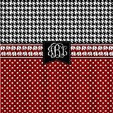 ArthuereBack Personalisierte Duschvorhang Custom mit Ihrem Namen oder Initialen inspiriert rote Tupfen schwarz Hahnentritt mit Elefanten Akzent