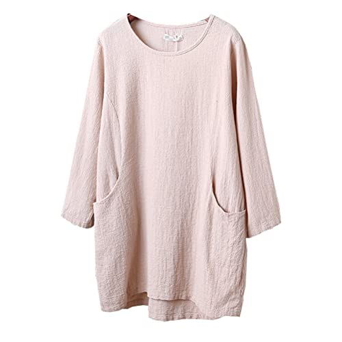 244fc942af Minibee Women s Cotton Linen 4 5 Sleeve Tunic Top Tees