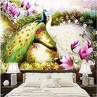 Lcymt 3D壁画手描きの花鳥孔雀壁紙リビングルームソファテレビ背景壁紙-400X280Cm