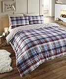 Angus, Trapunta Copripiumino Matrimoniale di flanella e set 2;federe per letto dimensione King, set biancheria da letto, con motivo scozzese blu rosso/bianco/navy