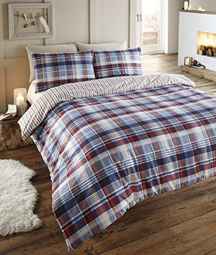 Angus Flanelette Double Quilt Duvet Cover and 2 Pillowcase Bedding Bed Set, Tartan Check Blue -Red/White/Navy