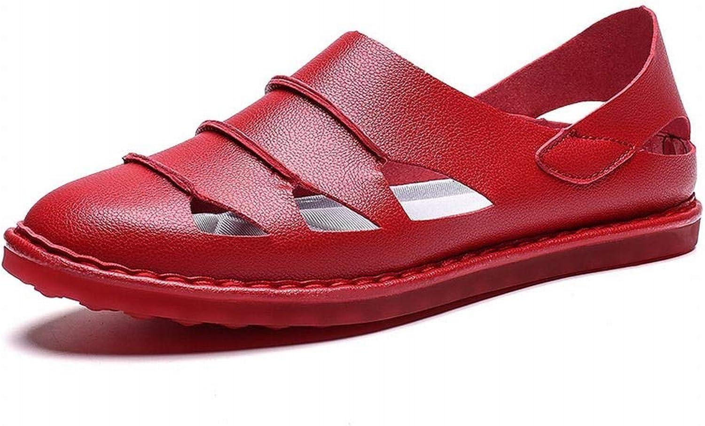 Casual Hole Leather shoes Baotou Sandals Fashion Half Slippers Men's Men's shoes (color   Red, Size   44)