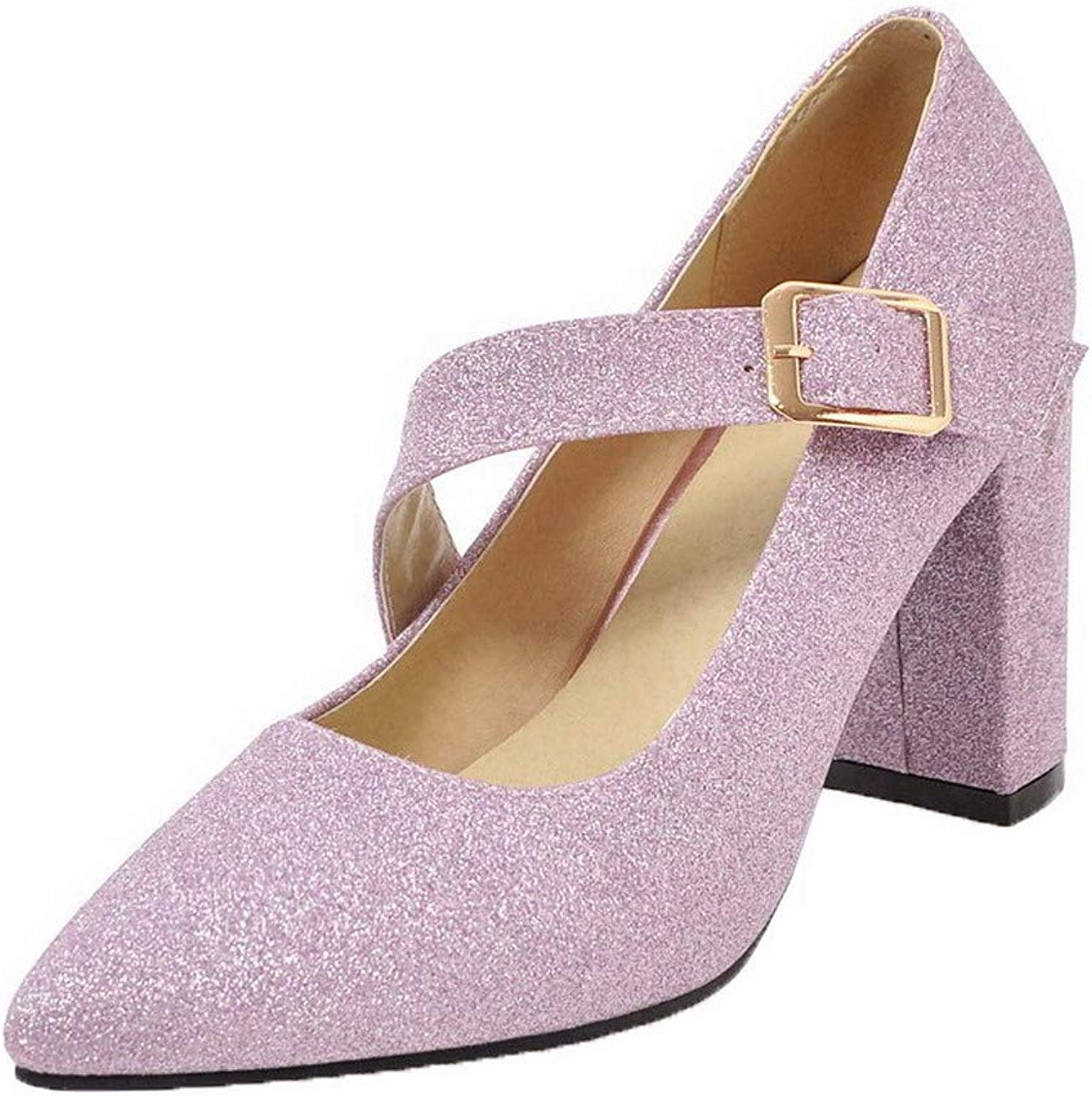 WeenFashion Women's High-Heels Sequins Solid Buckle Pumps-shoes, AMGDX006435