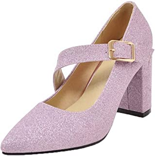 VogueZone009 Women's Pointed Closed Toe Solid Buckle Pumps-Shoes, CCADP011475