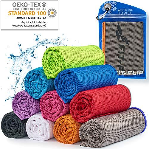 Cooling Towel für Sport & Fitness, Mikrofaser Handtuch/Kühltuch als kühlendes Handtuch für Laufen, Trekking, Reise & Yoga, Cooling Towel, Farbe: grau-oranger Rand, Größe: 120x35cm