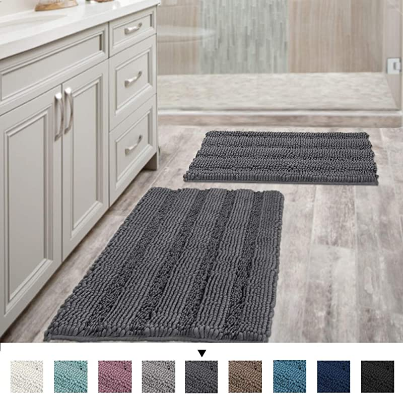 Grey Bath Mats For Bathroom Non Slip Ultra Thick And Soft Chenille Plush Striped Floor Mats Bath Rugs Set Microfiber Door Mats For Kitchen Living Room Pack 2 20 X 32 17 X 24