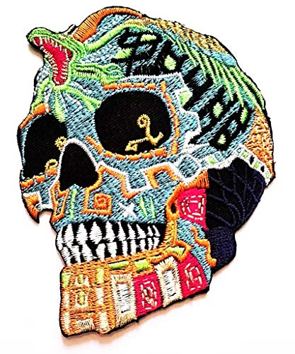 PP Patch Novelty Green King Cobra Skull Mexican Day of The Dead Cartoon Patch Skull Halloween Embroidered Iron On Motorcycle Vest Biker Jacket