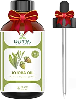 Jojoba Oil - 100% Pure and Organic - 4 Oz. with Glass Dropper - Incredible Moisturizer - Excellent Carrier Oil - Beauty in a Bottle by Essential Oil Labs