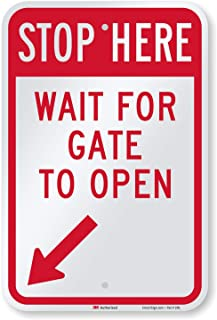 "SmartSign - K-8324-L-EG-12x18 ""Stop Here - Wait For Gate To Open"" Sign with Bottom Left Arrow 