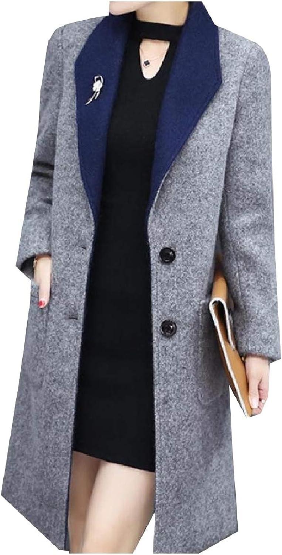 Winme Women Winter TurnDown Collar Woolen PlusSize Pockets Trench Coat