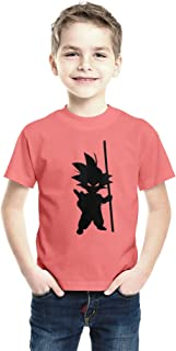 American-Elm Orange Half Sleeves Goku Printed Boy's Cotton Regular Fit T- Shirt | Kids Round Neck Cartoon Printed T-Shirt